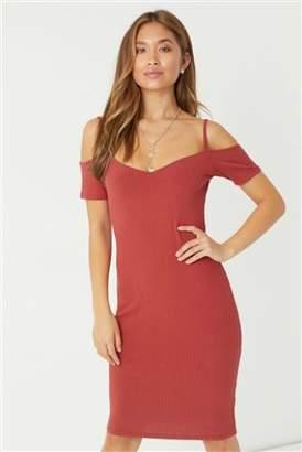 Next Womens Lipsy Cold Shoulder Rib Midi Dress