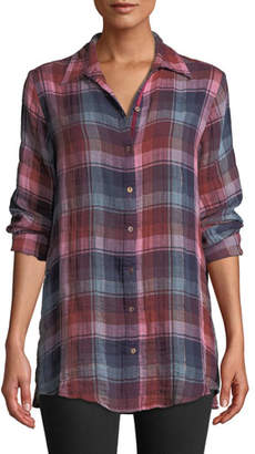 Johnny Was Loire Plaid Shirt with Embroidered Velvet Back, Plus Size