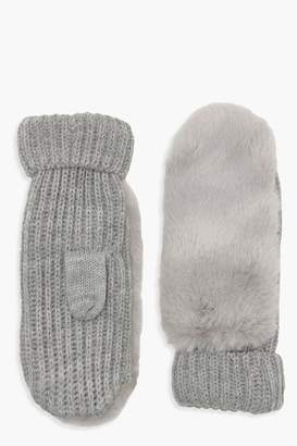 boohoo Grey Faux Fur Knitted Mittens