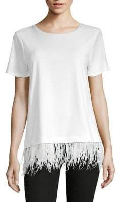 Calvin Klein Fringe Hem Short-Sleeve Tee