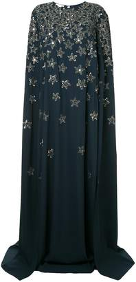 Oscar de la Renta star embellished cape dress