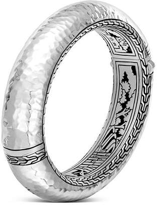 John Hardy Sterling Silver Classic Chain Hammered Large Oval Hinged Bangle
