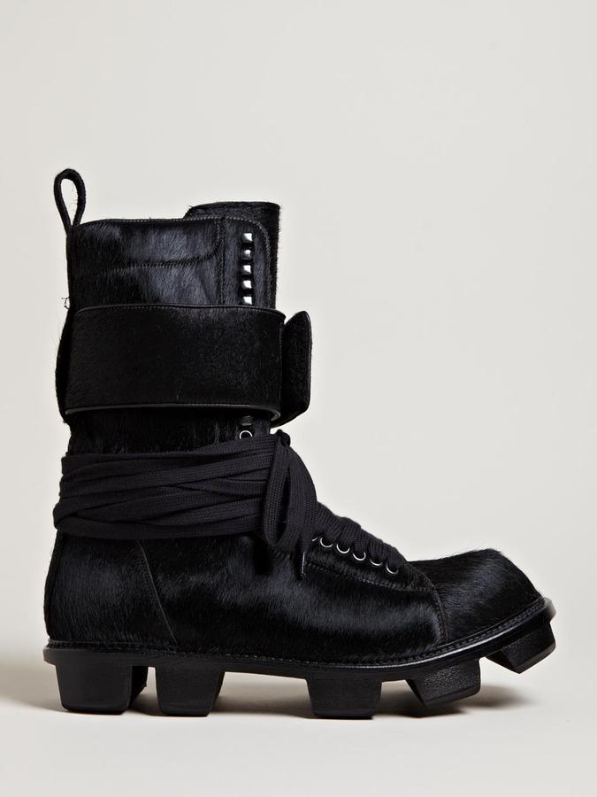 Rick Owens Men's Cow Hide Plinth Boots