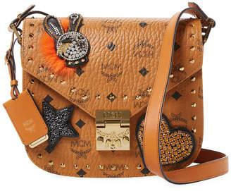 MCM Small Patricia Embellished Leather Satchel
