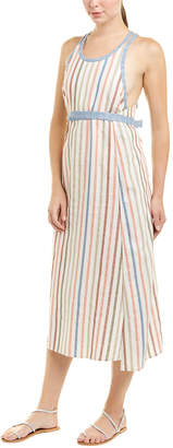 BCBGMAXAZRIA Striped Linen-Blend Wrap Dress