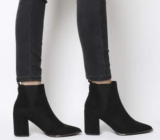 73e94afa51b Office Amazing Block Heel Point Ankle Boots Black 2 Gold Hardware