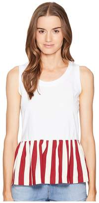 RED Valentino Light Cotton Jersey Striped Cotton Top Women's Sleeveless