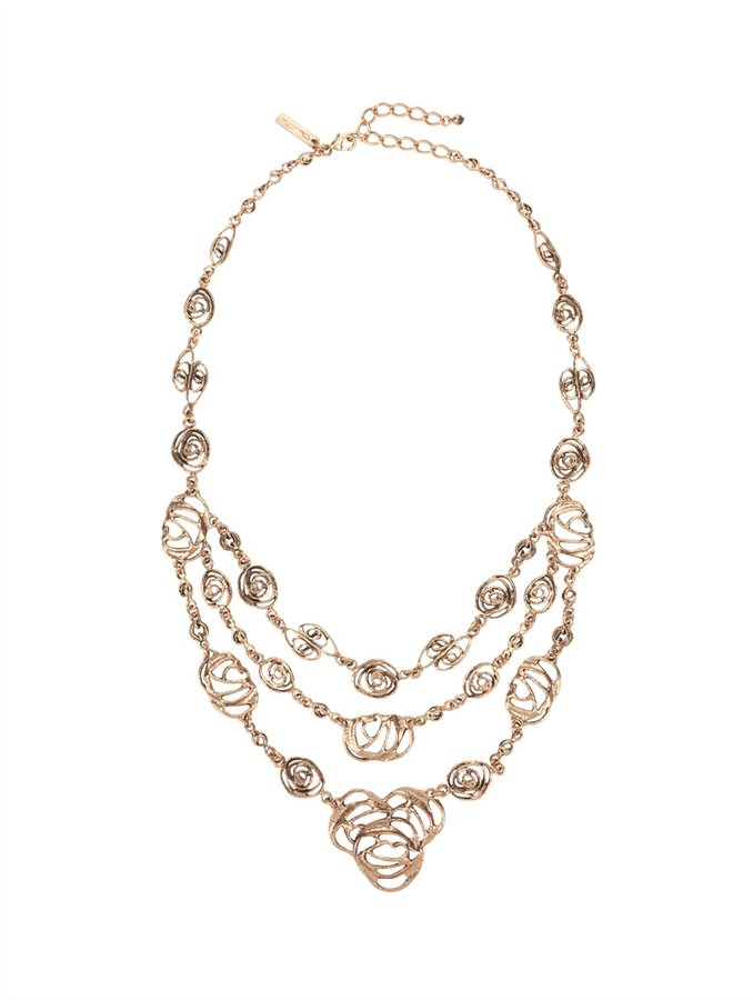 Oscar de la Renta Cutout Flower Triple Strand Necklace