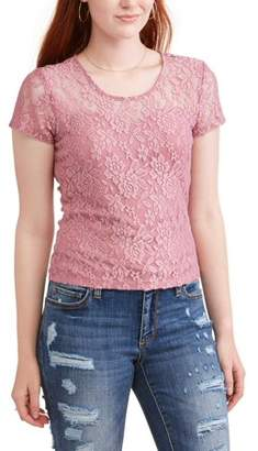 No Boundaries Juniors' All Over Lace Sheer Short Sleeve T-Shirt