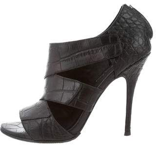 Elizabeth and James Embossed Leather Cutout Booties