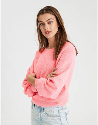 American Eagle AE Boucle Balloon Sleeve Pullover Sweater