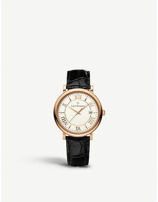 Rosegold CARL F BUCHERER 00.10311.03.15.01 Adamavi rose-gold sapphire crystal and leather watch