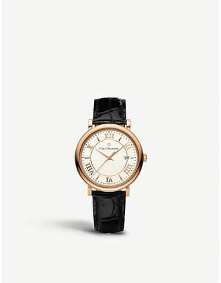 Rosegold CARL F BUCHERER 00.10311.03.15.01 Adamavi rose-gold sapphire crystal and leather watch
