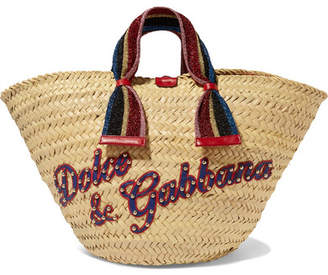 Dolce & Gabbana Kendra Lurex-trimmed Embellished Straw Tote - Beige