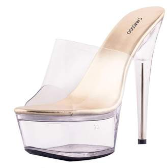 CAMSSOO Women's Sex Open Toe Extreme High Heel Platform Transparent Slides Sandals PVC 8 US M