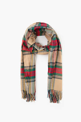 Look By M Tan Cashmere Blended Plaid Scarf