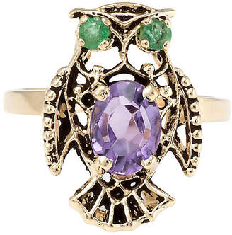 One Kings Lane Vintage 14K Gold Amethyst & Emerald Owl Ring - Precious & Rare Pieces