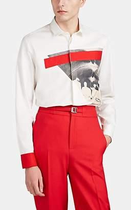 Neil Barrett Men's Band-Print Cotton Twill Shirt - Cream