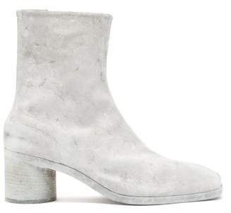 Maison Margiela Tabi Split Toe Painted Leather Boots - Mens - White