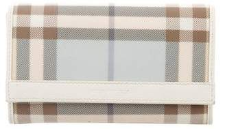 Burberry Leather-Trimmed Check Wallet