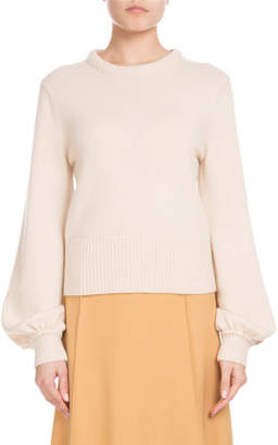 Chloé Iconic Cashmere Bubble-Sleeve Sweater