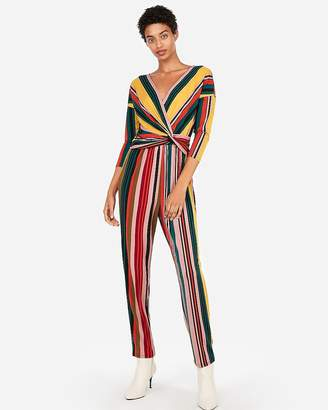 Express Petite Stripe Long Sleeve Twist Front Jumpsuit
