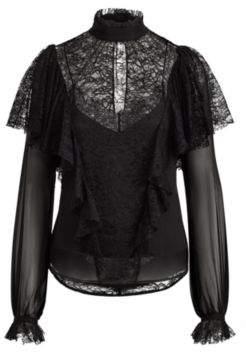 Ralph Lauren Lace Silk Chiffon Blouse Black 8