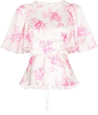 Les Rêveries frill sleeve floral print silk blouse