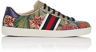 Gucci Men's Floral Snake-Print Canvas Sneakers - Md. Green, Multi