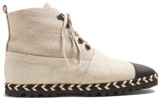 J.W.Anderson Espadrille Canvas Ankle Boots - Womens - Beige