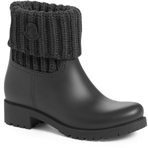 Women's Moncler 'Ginette' Knit Cuff Leather Rain Boot $360 thestylecure.com