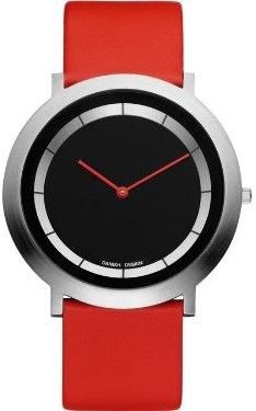 Danish Design (ダニッシュ デザイン) - デンマークデザインiv14q988ステンレススチールCaseレッドLeather Band Black Dial Women 's Watch