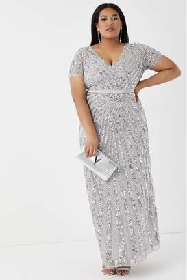 Maya Womens Curve Embellished Maxi Dress - Silver