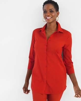 No Iron Cotton-Blend Pocket Tunic
