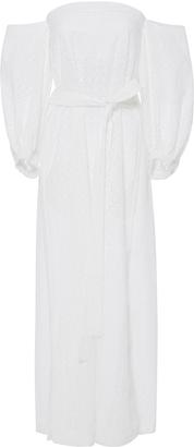 Lisa Marie Fernandez Off The Shoulder Eyelet Dress $695 thestylecure.com