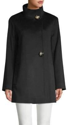 Fleurette Two-Button Stand-Collar Loro Piana Wool Coat
