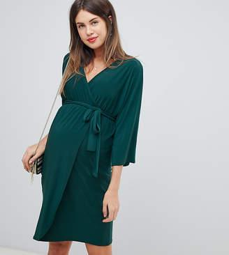 Bluebelle Maternity kimono dress in forest green