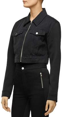 J Brand Cropped Denim & Scuba Jersey Zip-Front Jacket