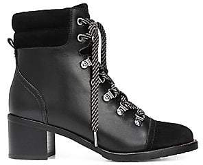 Sam Edelman Women's Manchester Faux Fur, Leather and Suede Lace-Up Boots