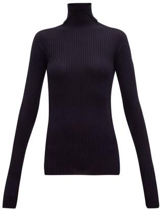 Jil Sander Slit Roll Neck Ribbed Cashmere Blend Sweater - Womens - Dark Navy