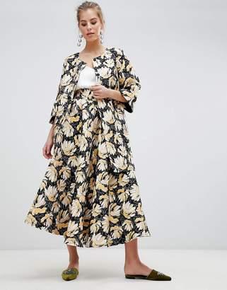 Traffic People Printed Jacquard Midi Prom Skirt