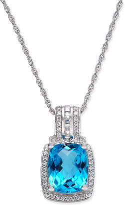 Macy's Blue Topaz (2-1/3 ct. t.w.) & Diamond (1/5 ct. t.w.) Pendant Necklace in 14k White Gold