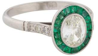 Platinum Oval Diamond & Emerald Engagement Ring