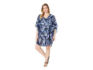 83f29037f02de Maxine Of Hollywood Swimwear Plus Size Printed In the Navy Chiffon Caftan  Cover-Up
