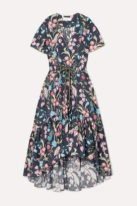 Peter Pilotto Floral-print Cotton Midi Dress - Navy