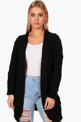 boohoo Plus Tiffany Cable Detail Oversized Cardigan