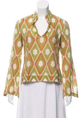 Tory Burch Printed Long Sleeve Blouse