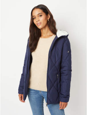 George Navy Borg Lined Hooded Padded Coat
