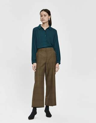 Mae Farrow Long Sleeve Collared Blouse in Forest