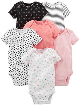 Carter's Simple Joys by Girls' 6-Pack Short-Sleeve Bodysuit